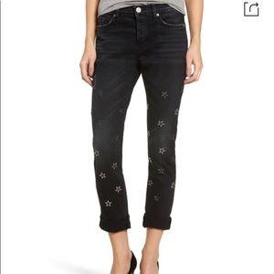 Hudson riley star embellished straight jeans
